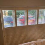 new white blinds overlooking car park