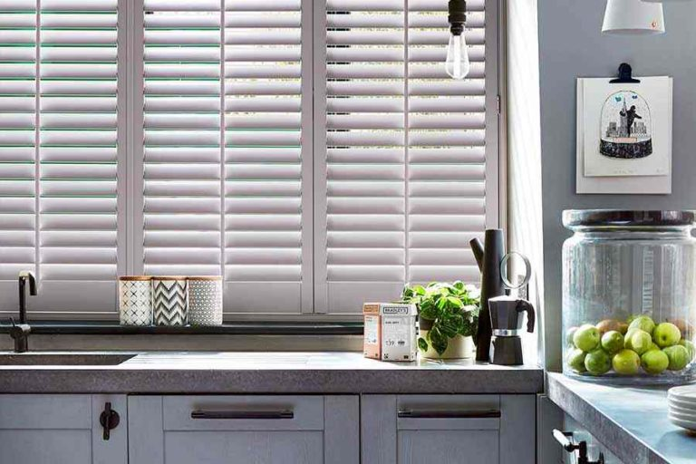 Vienna shutters installed into a kitchen (sandringham shutters)