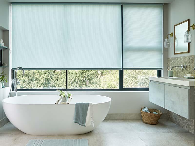 arena rolller blind installed in modern bathroom
