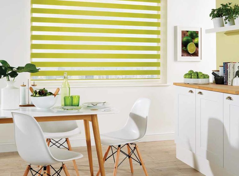 louvolite vision capri paradise green blinds fitted to kitchen dining area