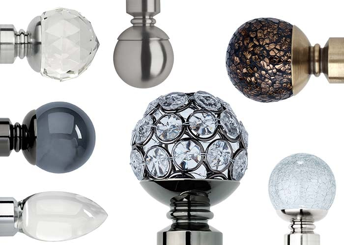 selection of finials by Neo and Silent Gliss